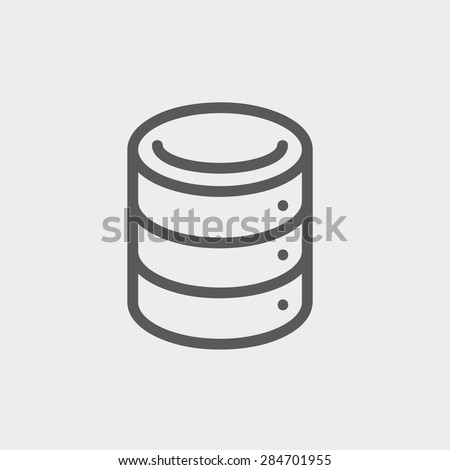 Computer server icon thin line for web and mobile, modern minimalistic flat design. Vector dark grey icon on light grey background. - stock vector