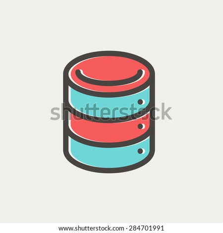 Computer server icon thin line for web and mobile, modern minimalistic flat design. Vector icon with dark grey outline and offset colour on light grey background. - stock vector