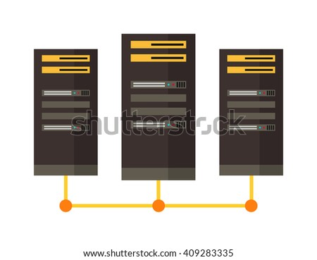 Computer server icon vector illustration. Computer server icon isolated on white background. Computer server icon vector. Computer server flat silhouette - stock vector