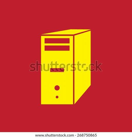 computer server icon, vector illustration. Flat design style - stock vector
