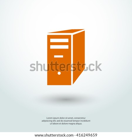 computer server icon, vector illustration. Flat design style - stock vector