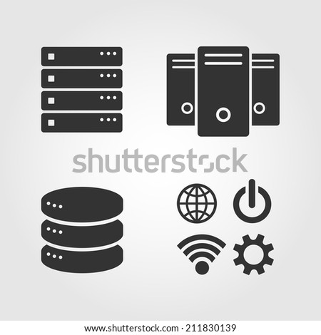Computer Server icons set, flat design - stock vector