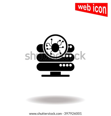 Computer server is infected by malware with virus symbol. Server icon. Server icon vector. Server icon illustration. Server icon web. Server icon Eps10. Server icon image. Server icon logo. Sign.  - stock vector