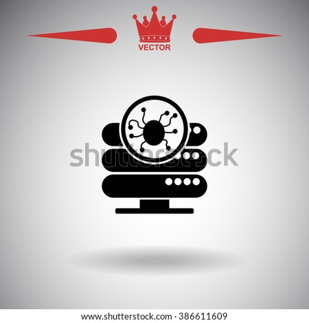 Computer server is infected by malware with virus symbol vector icon. - stock vector
