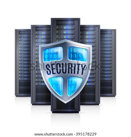Computer server racks with security shield protection symbol black on white background realistic isolated vector illustration  - stock vector