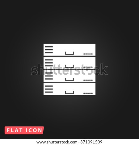 Computer Server. White flat simple vector icon on black background. Icon JPEG JPG. Icon Picture Image. Icon Graphic Art. Icon EPS AI. Icon Drawing Object. Icon Path UI - stock vector