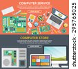 Computer service, computer store flat illustration concepts set. Flat design concepts for web banners, web sites, printed materials, infographics. Creative vector illustration. - stock vector