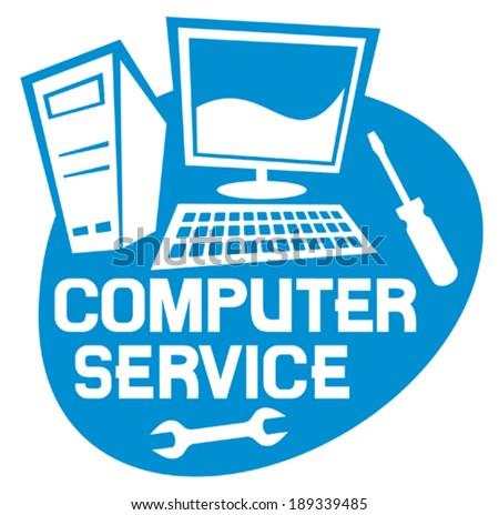 computer service label (computer repair service sign, computer repair service) - stock vector