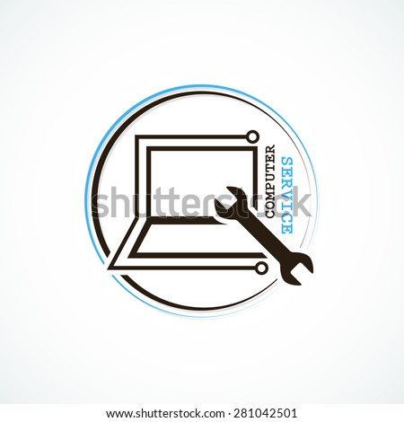 Computer service logo or icon with wrench and laptop sign art