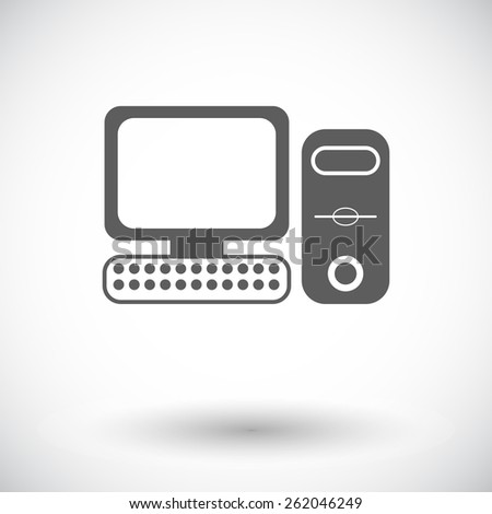 Computer. Single flat icon on white background. Vector illustration.