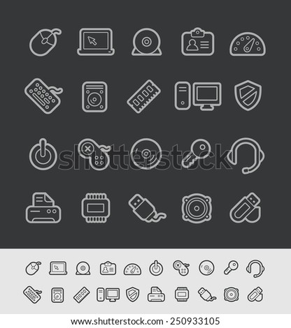 Computer Store Icons // Black Line Series -- EPS 10+  Contain Transparencies - stock vector