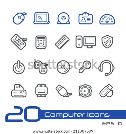 Computer Store Icons // Line Series - stock vector