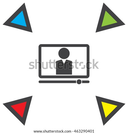 Computer study vector icon. On line studies sign. Education from home symbol