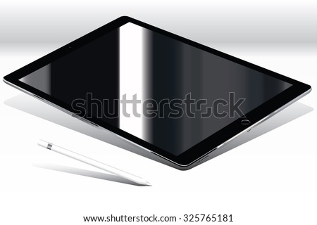 computer tablet , black shiny screen with stylus on white background - stock vector