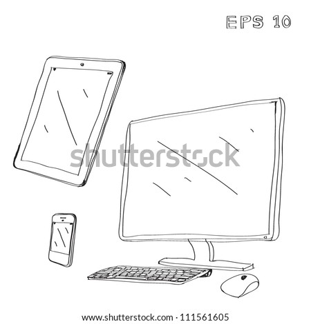 computer ,tablet ,phone Drawing - stock vector