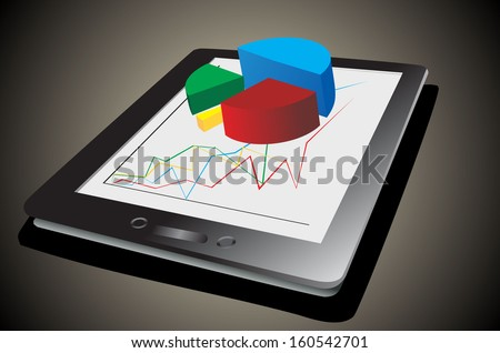 Computer tablet showing a spreadsheet with some 3d charts over it - stock vector