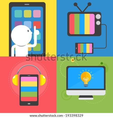 Computer tablet smartphone vector - stock vector