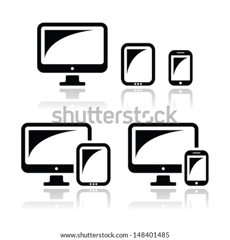 Computer, tablet, smartphone vector icons set - stock vector