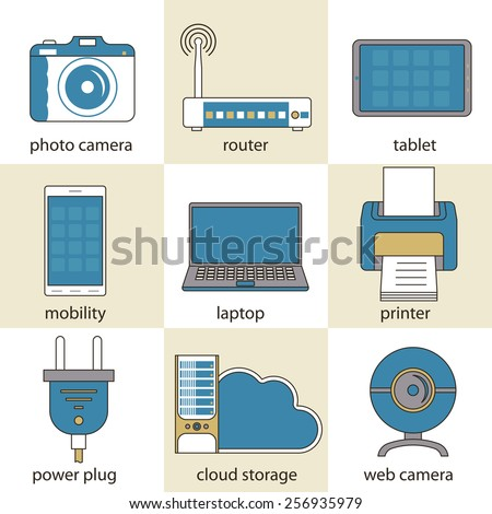 Computer technology and multimedia icons, electronics, devices,  power plug, digital world  pictogram - flat design elements. vector collection - stock vector