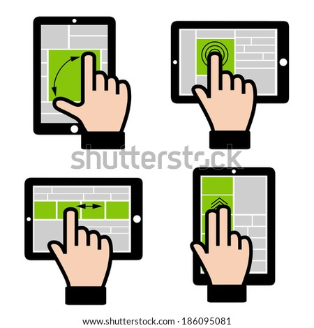 Computer technology.  Design for touch - sensitive screen. - stock vector