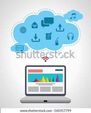 Computer technology, internet communication and cloud computing  - stock vector