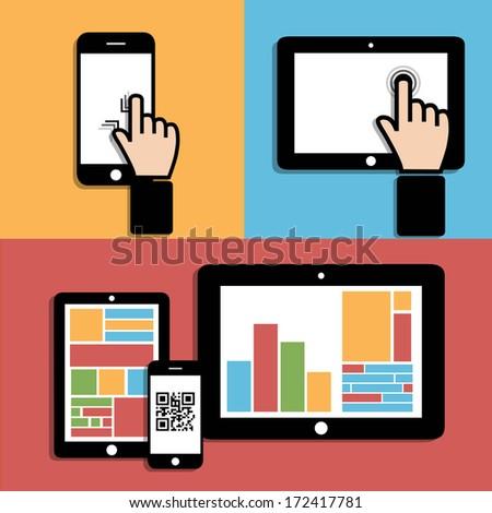Computer technology. Touch-sensitive screen - stock vector