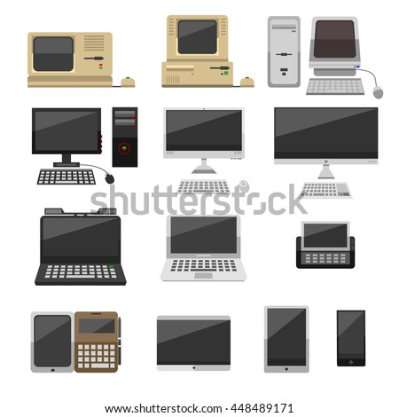 Computer technology vector evolution isolated display. Telecommunication equipment metal pc monitor frame computer modern office network. Old computer device electronic black equipment space. - stock vector