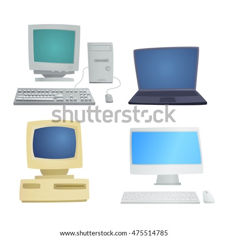 Computer technology vector set isolated display