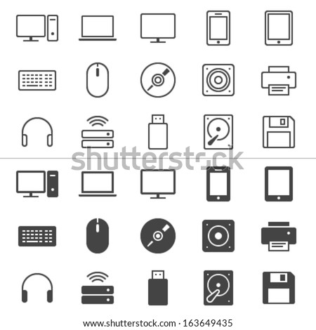 Computer thin icons, included normal and enable state. - stock vector