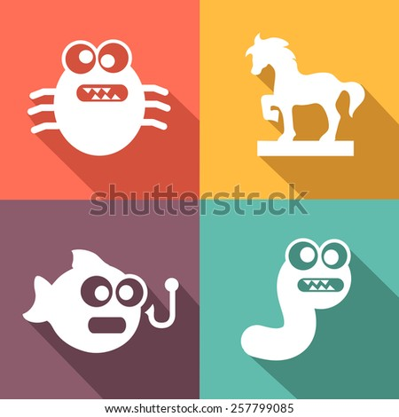 Computer Threats and virus white Icons flat style - stock vector