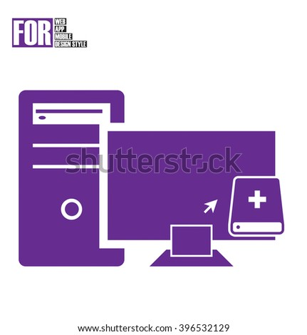 Computer to external storage drive icon - stock vector