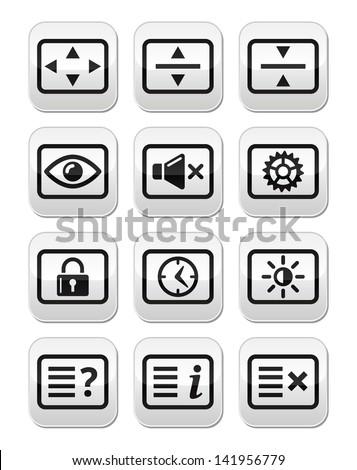 Computer tv monitor screen vector buttons set - stock vector