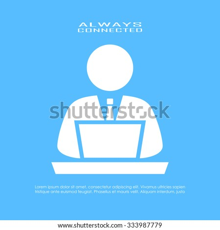 Computer user icon - stock vector