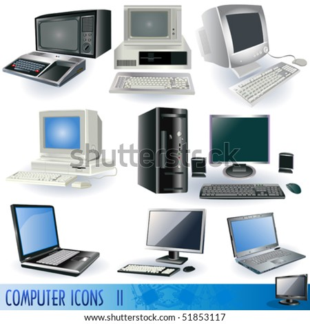 Computer vector illustration icons. - stock vector