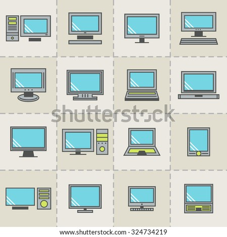 Computer vector set. PC icons for web.