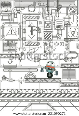 Computer video game concept art sketch, Mechanism and robot design hand drawn on a white background, Vector flat illustrations - stock vector