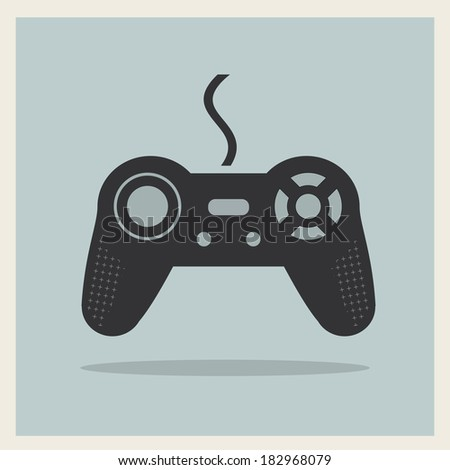 Computer Video Game Controller Joystick on Retro Background Vector - stock vector