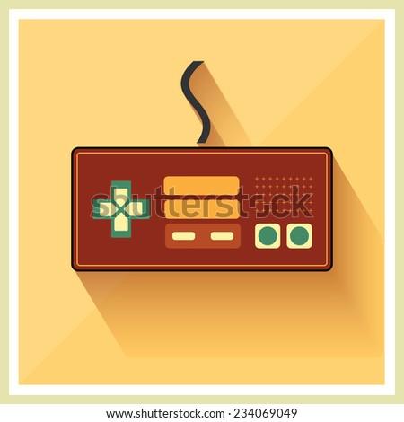 Computer Video Game Controller Joystick on Retro Background Vector - stock vector