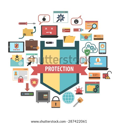 Computer virus protection shield and malware removal software security concept banner flat icons composition abstract vector illustration - stock vector