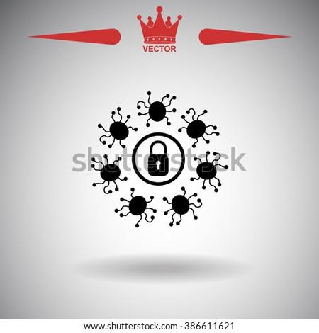 Computer virus with lock icon.  - stock vector