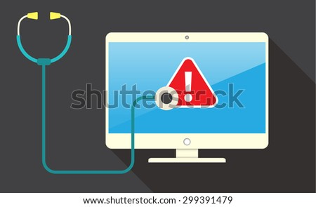 Computer viruses concept. Find Virus with stethoscope Computer icon Symbol. Security scan. vector. flat style background. Laptop PC. digital technology graphics website internet - stock vector