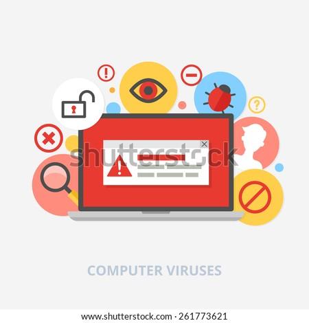 Computer viruses vector illustration - stock vector
