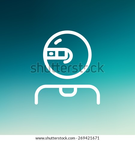 Computer web camera icon thin line for web and mobile, modern minimalistic flat design. Vector white icon on gradient  mesh background. - stock vector