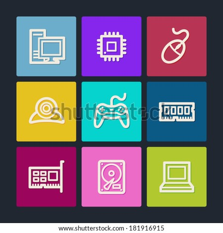 Computer web icons, color buttons - stock vector