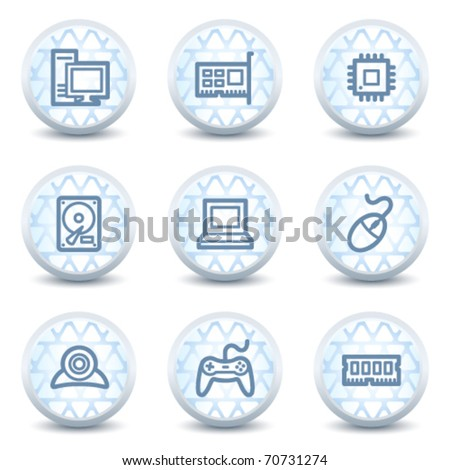 Computer web icons, glossy circle buttons - stock vector