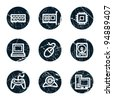 Computer web icons, grunge circle buttons - stock vector