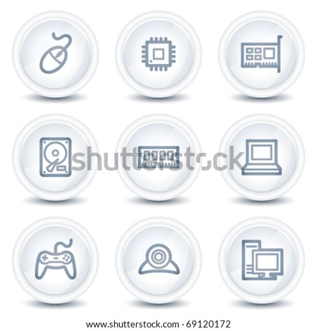 Computer web icons, white glossy circle buttons - stock vector