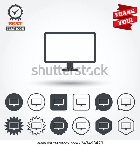 Computer widescreen monitor sign icon. Circle, star, speech bubble and square buttons. Award medal with check mark. Thank you ribbon. Vector - stock vector