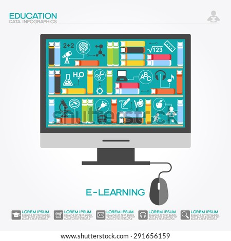 Computer with books surrounded by icons of science. Concept  e-learning. Online education idea. This illustration contains a transparency - stock vector