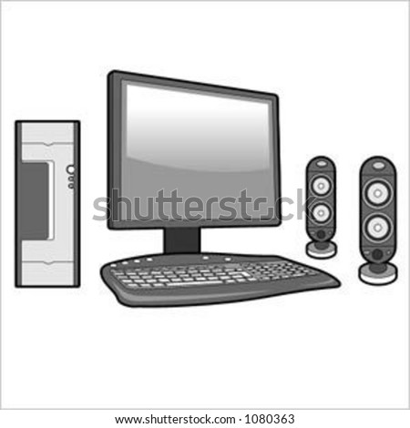 computer with flat monitor and speakers